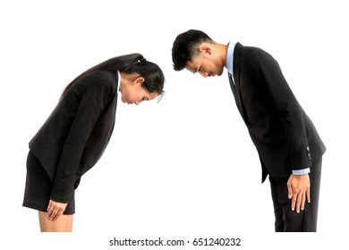 A portrait of asian business person, A bowing of business people on white background.