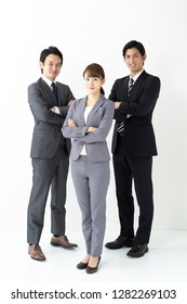 portrait of asian business team on white background