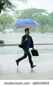 Portrait of Asian businessman running in rainy street holding  umbrella hurrying to work