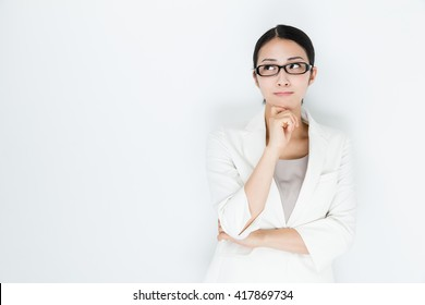 portrait of asian businesswoman isolated on white background