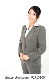 a portrait of asian businesswoman isolated on white background