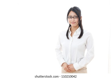 a portrait of asian businesswoman on white background