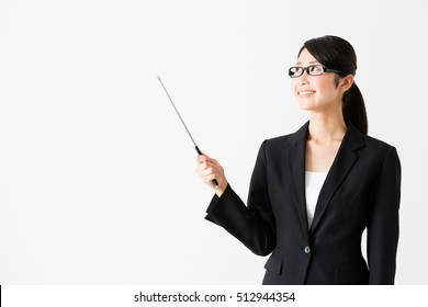 portrait of asian businesswoman pointing isolated on white background