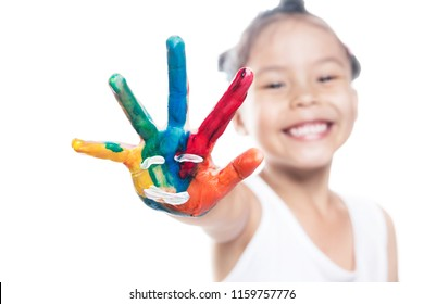 Portrait of asian child girl with painted hands isolated