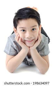 Portrait Of asian child on white background .
