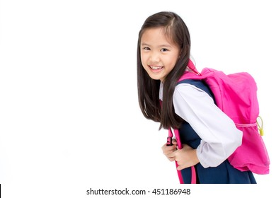 Portrait of Asian child in school uniform with school bag on white background isolated