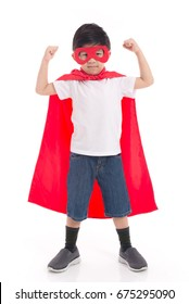 Portrait of Asian child in Superhero's costume on white background isolated