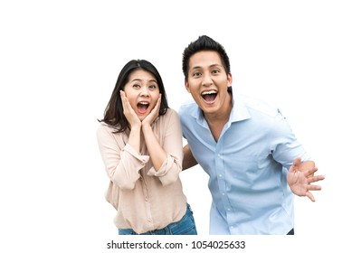 Portrait of Asian couple with surprised and excited expression isolated on white background