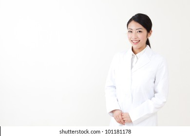 a portrait of asian doctor isolated on white background