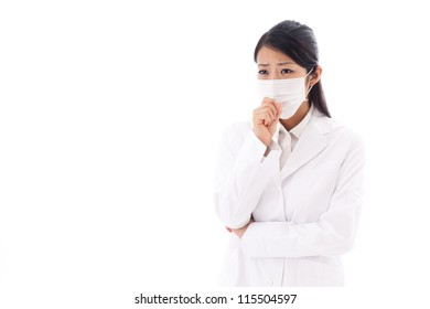 a portrait of asian doctor wearing mask isolated on white background