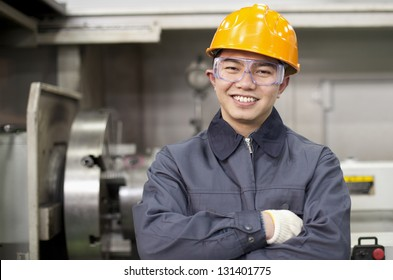 Portrait asian engineer in factory