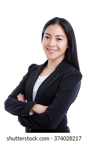 Portrait of asian girl looking at camera, isolated on white background. Successful business woman looking confident and smiling. Studio shot.
