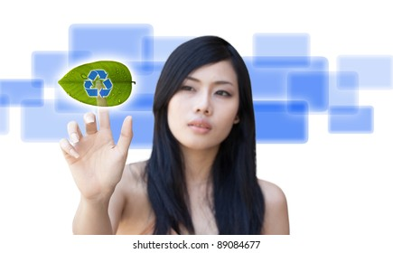 Portrait of Asian girl press recycle button, creative concept of ecological