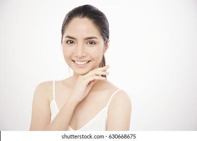 Portrait of Asian girl smile on white background