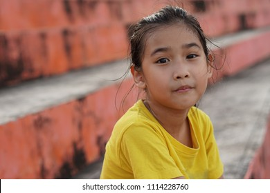 Portrait Asian kids little girl hot
