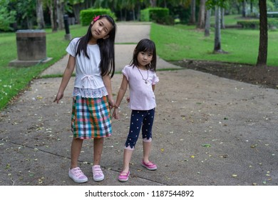 Portrait Asian kids little girl smiling happy