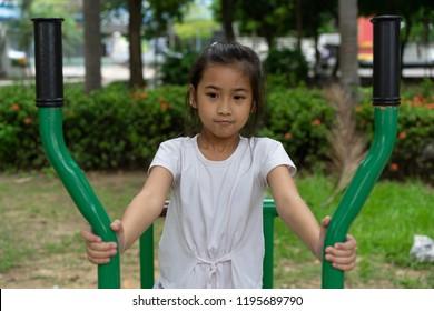 Portrait Asian kids little girl exercise