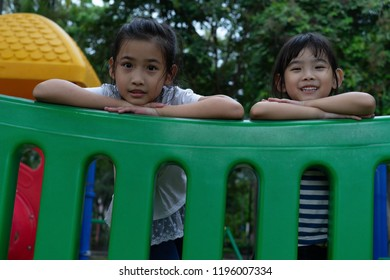 Portrait Asian  kids little girl smiling happy on the playground