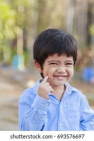 Portrait of Asian little boy outdoor