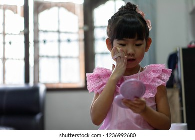 portrait asian little girl make up