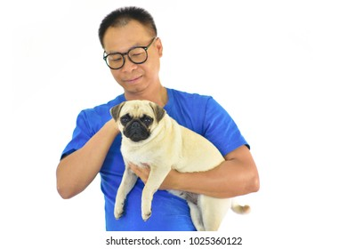 Portrait of Asian male with his dog on white background