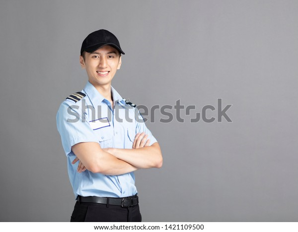 Portrait Of Asian Male Security Guard