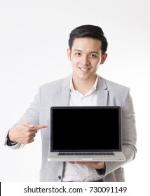 Portrait of Asian Man in Isolated Background With Gesture Sign