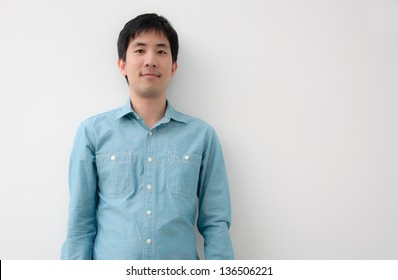 portrait of an asian man with white wall