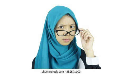 portrait of asian moslem girl wearing a dress