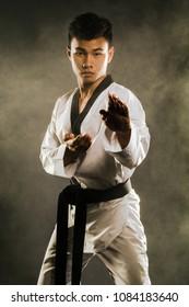 Portrait of an asian professional taekwondo black belt degree (Dan) preparing for fight.