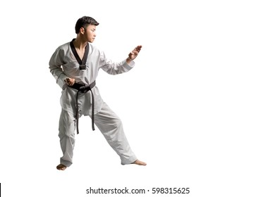 Portrait of an asian professional taekwondo black belt degree (Dan) preparing for punch. Isolated full length on white background with copy space and clipping path