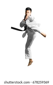 Portrait of an asian professional taekwondo black belt degree (Dan) kick. Isolated full length on white background with copy space and clipping path