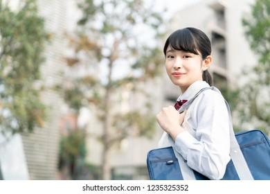 Portrait of an asian school girl.