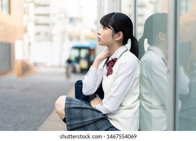 Portrait of a asian school girl.