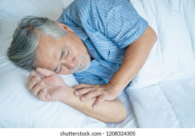 Portrait asian senior man asleep in bedroom , Old elderly male health care and Retirement concept.