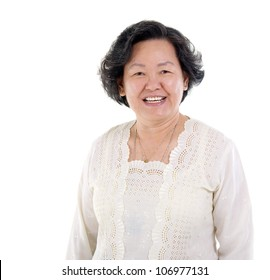 portrait of asian senior woman isolated on white