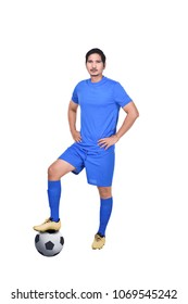 Portrait of asian soccer player with ball posing isolated over white background