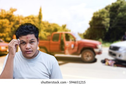 Portrait of Asian Thai man face injury after car accident