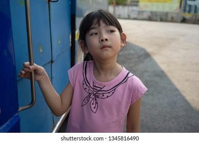 Portrait Asian Thailand child girl cute