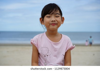 Portrait Asian Thailand child little girl Happy