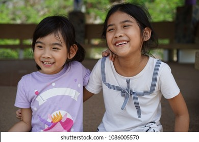 Portrait Asian Thailand kids little girl smiling happy