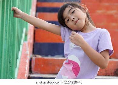 Portrait Asian Thailand kids little girl