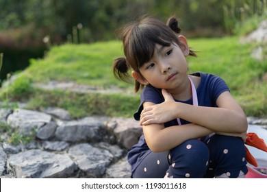 Portrait Asian Thailand kids little girl smiling happy