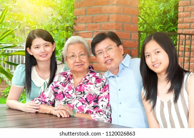 Portrait of asian three generations family