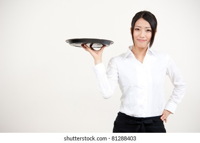 a portrait of asian waitress isolated on white background
