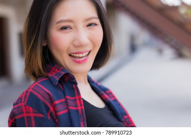 portrait asian woman in casual costume with smile happiness travel concept