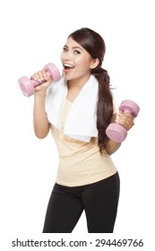 A portrait of an Asian woman exercising, holding barbell, isolated over white background