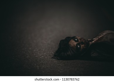 Portrait of asian woman make up ghost face,Horror scene,Scary background,Halloween poster