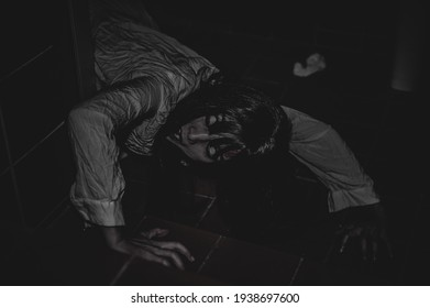 Portrait of asian woman make up ghost,Scary horror scene for background,Halloween festival concept,Ghost movies poster