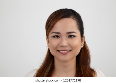 portrait of asian woman on the white background